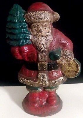 Antique Cast Iron Santa Claus Hubley Christmas Figural Doorstop Decor Rare 1920s