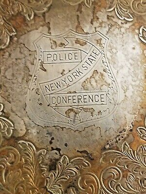 Vintage New York State Police Bicentennial Conference Silverplate Platter/Tray