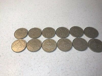 Lot Of (12) The Alton Belle Casino 25 cent Gaming Play Token