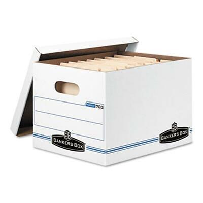 Bankers Box Stor/File Storage Box- Letter/Legal- Lift-Off Lid- White- 6/Pack