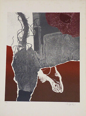 Laszlo Dus Abstract Lithograph Limited Edition 1980 Listed Hungarian Artist  Art