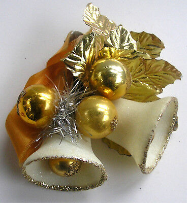 Vintage Gold Frosted Glitter Bell Christmas Corsage Pin