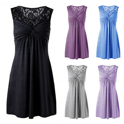 Women Summer Holiday Sundress Lace Sleeveless Cocktail Party Mini Swing Dress AU