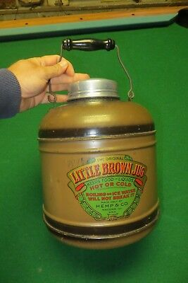 The original Little Brown Jug,Hemp & Co.metal over porcelain antique with covers