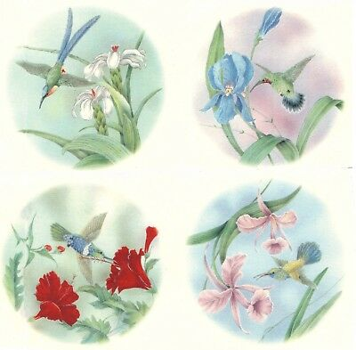 "Hummingbird Flower Blue Sky 4 pcs 3-1/2"" Waterslide Ceramic Decals Xx"