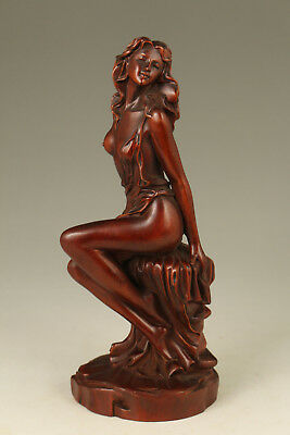 antique big boxwood hand carved japanese sex girl netsuke statue