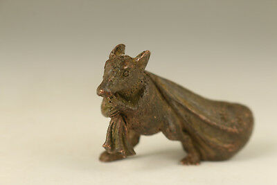 ancient bronze hand carved mouse bag statue desk art collectable