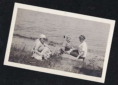 Vintage Antique Photograph Three Women Sitting By Water w/ Puppy Dog