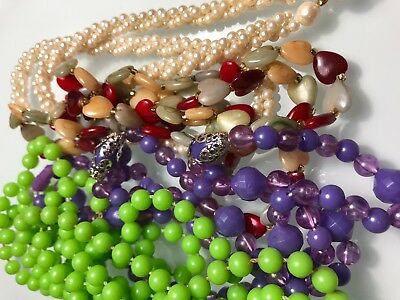 Vintage Lot of FOUR 4 Plastic Costume Jewelry Beaded Necklaces