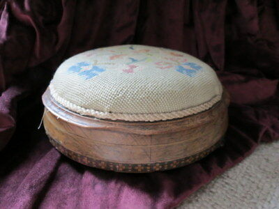 Gorgeous Vintage Round Footstool Embroidered Needlepoint Floral Design Top