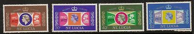 St.lucia Sg443/6 1977 Silver Jubilee Mnh