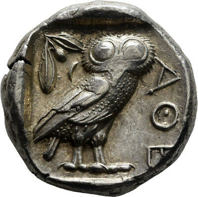 Ancient Greek Coin Attica Athens Owl Silver Tetradrachm-Test Cut-450 Bc