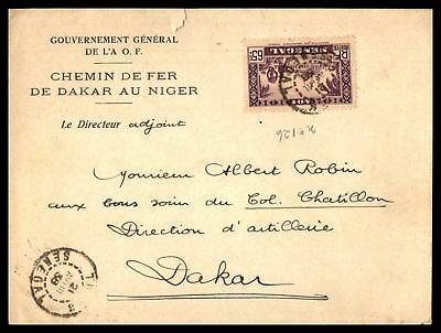 Senegal 1938 Cover Scott 156 Single Franking to Dakar Small Tear at top