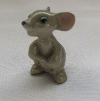 Vintage Miniature Porcelain Figurine Very Small Mouse With Pink Ears