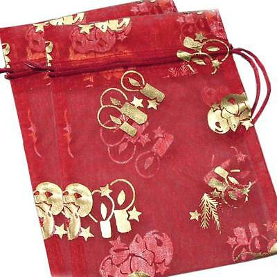 *HOLIDAY*_2-PAK_DECORATIVE ORNAMENTAL ORGANZA GIFT JEWELRY POUCH_RED w/GOLD