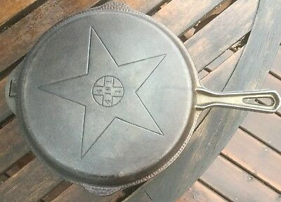 Vintage Lodge Hammered 4 in 1 Combination Cast Iron Hinged Skillet & Lid Flat