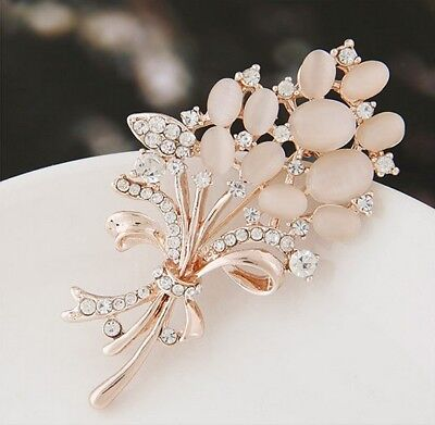 Women Rose Gold Crystal Rhinestone Flower Bouquet Brooch Pin Bridal Jewelry Gift