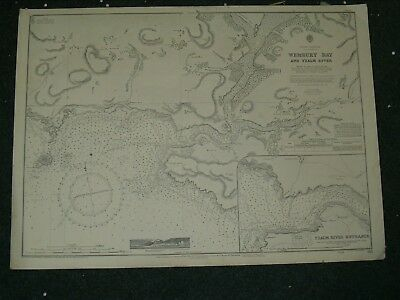 Vintage Admiralty Chart 95 UK - WEMBURY BAY & YEALM RIVER 1923 edition