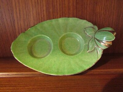 Royal Winton Deco Tulip/Lily Salt and Pepper Tray. Green lustre