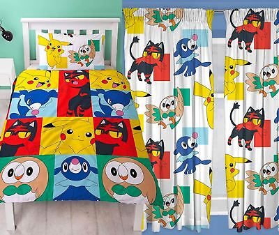 """Pokemon Newbies Single Duvet and Matching Curtains Set 54"""" or 72"""" Drop"""