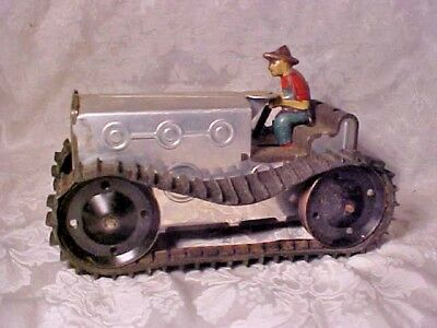 Vintage Old Antique Pressed Tin Litho Tractor Bulldozer Wind Up Metal Marx Toy