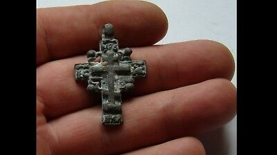 Authentic Late Medieval Bronze Radiate Cross Pendant - Wearable