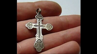 Late/post Medieval Era Silver Cross Pendant - Wearable