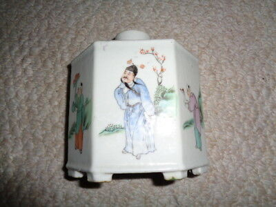Antique chinese export porcelain tea caddy 19th century painted geisha servants