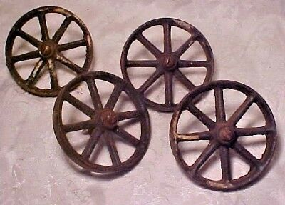 Vintage Old Antique Set 4 Cast Iron Wheels German Wood Carousel Horse Pull Toy