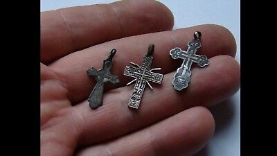 Late/post Medieval Era Silver Crosses Pendant - Wearable