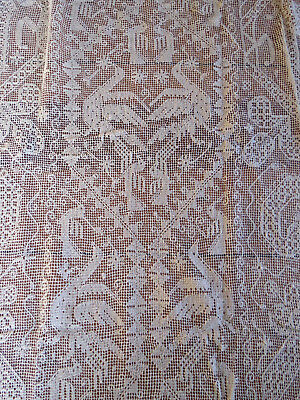 Vtg Italian Net Knot Buratto Lace Tablecloth Table Runner Cover 33x76 Bird Dove
