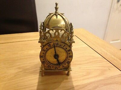 Smiths Industries Brass Lantern Clock with Transistor Battery Movement IV 1973