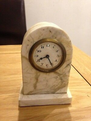 Small Domed Shaped Marble Mantel Clock with brass cased movement fully working