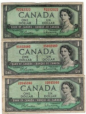 Lot Of 3 1954 Bank Of Canada One 1 Dollar Bank Notes Nice Bills