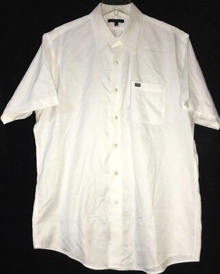 US Airways Twin Hill Men's White Short Sleeve Button Down Shirt Size LARGE