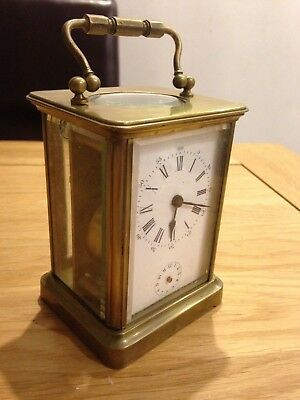 French Brevette French Carriage Clock with Alarm for Parts Restore marked R A