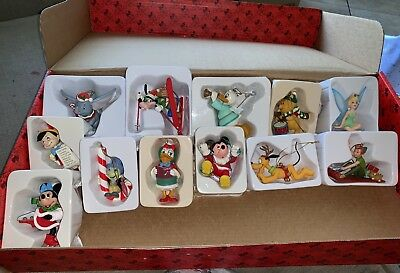 Disney Christmas Ornament Lot Set of 12 Groiler Collectible Mickey Minnie Donald