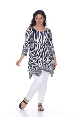 Womens Plus Size Antonia Cut-Out Shoulder Tunic Top Navy & White - 3XL
