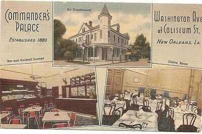 MULTI VIEW COMMANDERS PALACE 1941 POSTCARD New Orleans La Restaurant