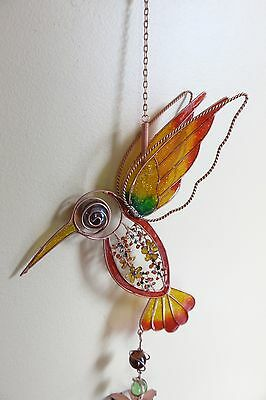 HUMMINGBIRD WIND CHIME GARDEN YARD DECOR FILIGREE FLOWERS NEW 31 in. CHIMES