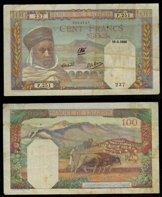 Rare Currency May 18, 1940 Algeria 100 Francs Banknote P85 ChoiceVF+++