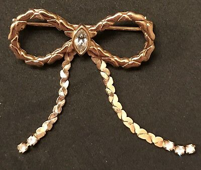 Vintage Gold Bow Brooch Rhinestone Pin Estate Find Antique Moveable Jewelry Nice