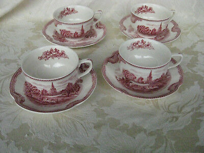 Beautiful Set of 4 Johnson Bros. Old Britain Castles Cup & Saucers