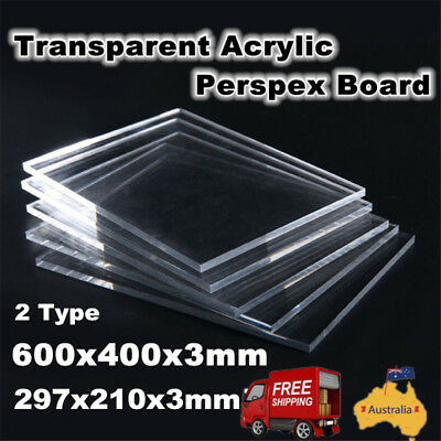 Clear Acrylic Precision Cut Sheet- 600x400x3mm/ 297x210x3mm Plexiglass Window AU