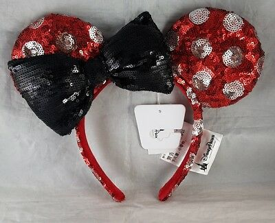 Disney Parks Minnie Mouse Ears Black Bow Headband Red White Polka Dot Sequin NEW
