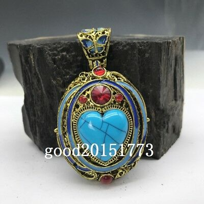 Collection of Chinese Cloisonne pendant inlaid with artificial gemstones.   b765