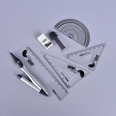 7pcs Set Student School Math Geometry Protractor Drawing Compass Ruler Pencil