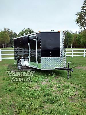 NEW 2019 6x12 6 x 12 V-Nosed Enclosed Cargo Motorcycle Trailer Ramp & Side Door
