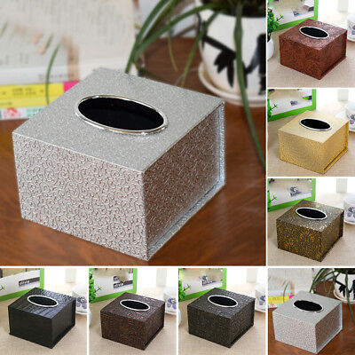 AU Inner Car Practical Tissue Holder Square Box Waterproof Home PU Leather Top