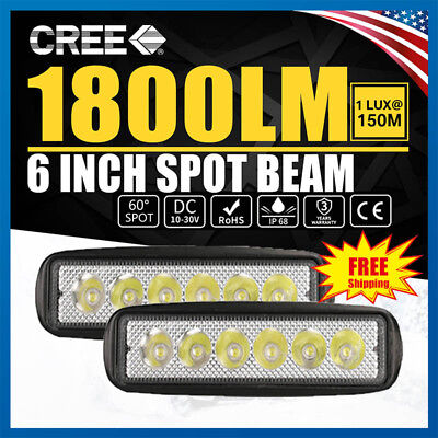 6INCH 18W CREE Led Light Bar Flood Spot Work Driving Offroad 4WD Truck Atv UtE